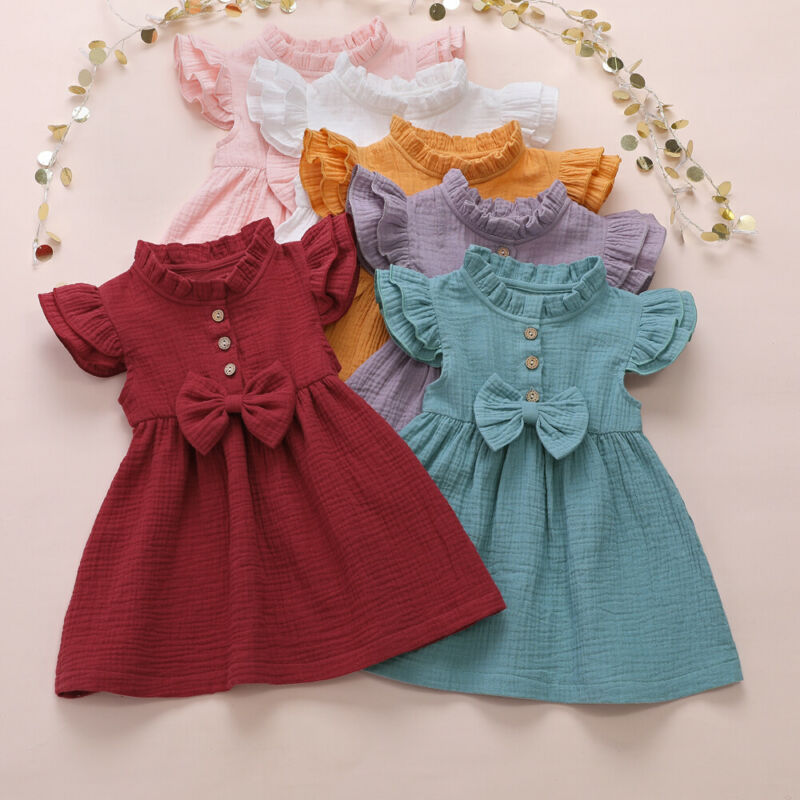 1-6 Years Girl Dress Kid Baby Girl Solid Linen Button Ruffle Sleeve Dress For Girls Cute Princess Dress Party Dress Girl Clothes