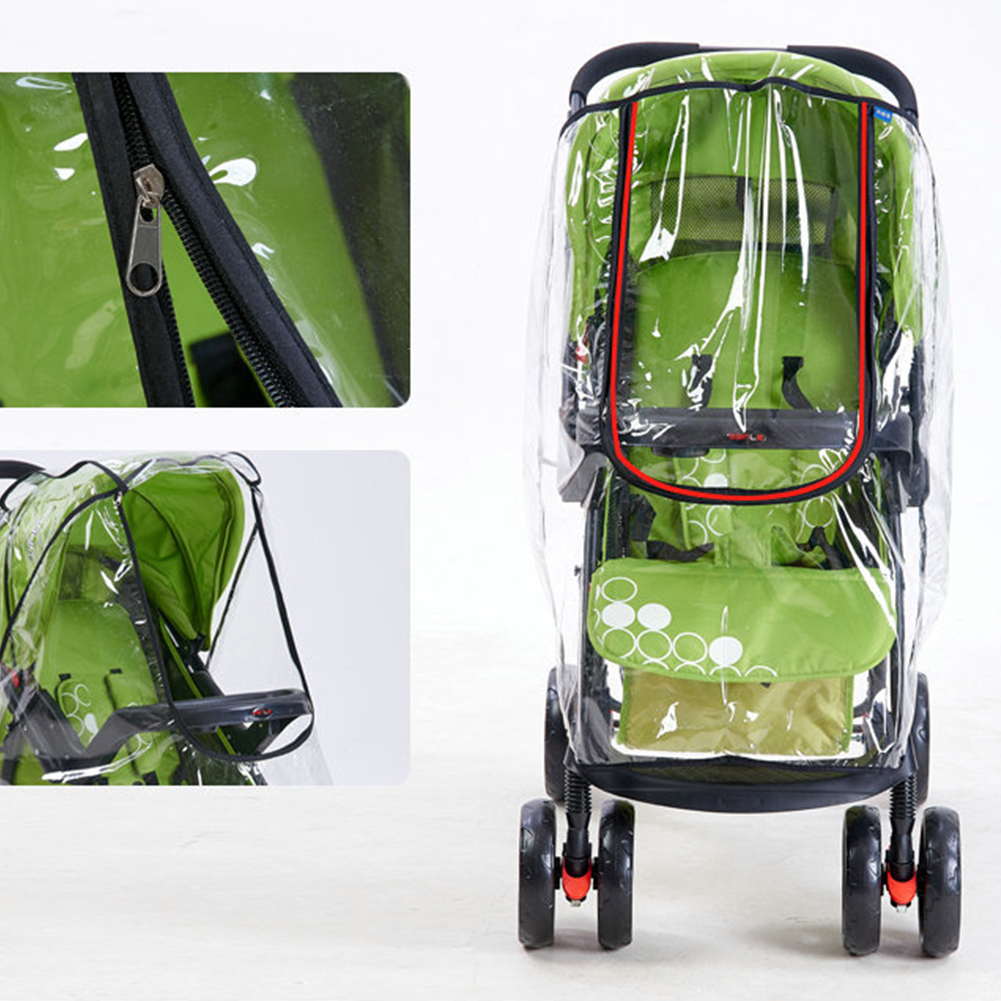 Universal Practical Portable Breathable Baby Stroller Accessories Protective Waterproof Travel Zipper PVC Rain Cover Dust Shield