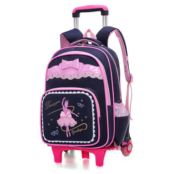 Cartoon 2 Wheels Girls Trolley School Bags Backpack Detachable Children Rolling Book Bag Waterproof Travel Mochila - discount item  50% OFF School Bags
