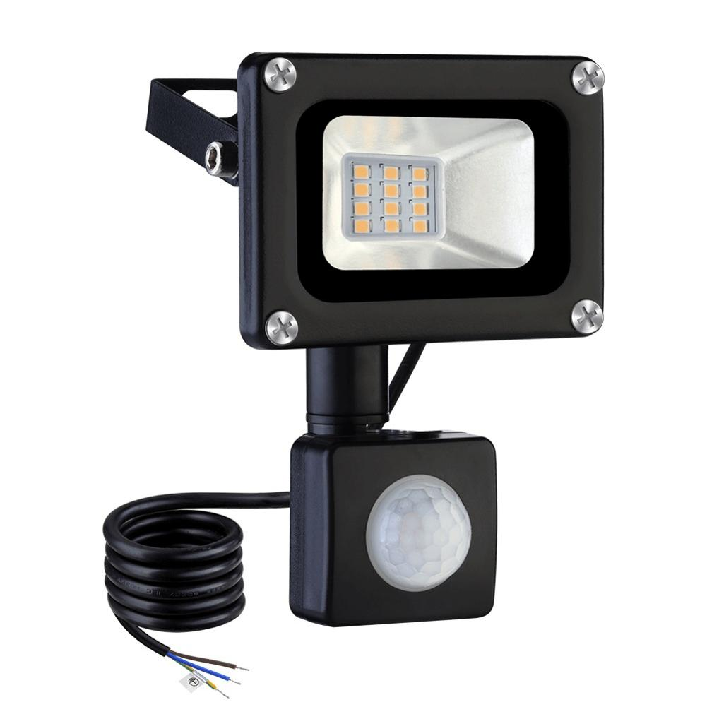 <font><b>10W</b></font> <font><b>LED</b></font> Flood Light PIR Sensor <font><b>Led</b></font> Light Outdoor Foco Exterior <font><b>Reflector</b></font> 800LM Lighting for Gardens Courtyards Decks Lights image