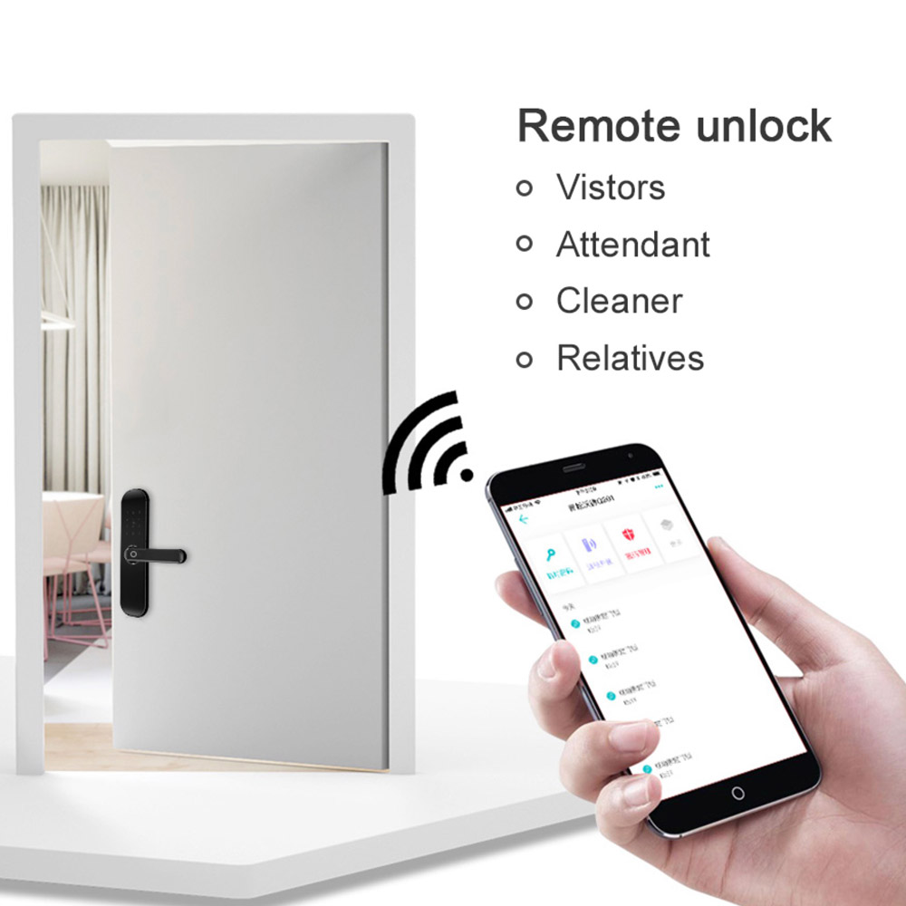 Image 5 - Yi LOCK smart security biometric electronic fingerprint/rfid/key/password/app remote door lock with 5052 mortise-in Electric Lock from Security & Protection