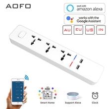 AOFO WiFi умная лента питания совместима с Alexa, Google Home, с 2 usb-портами для зарядки и 4 универсальными смарт-штекерами переменного тока