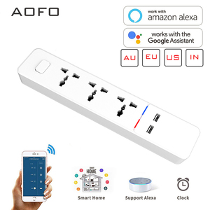 Умная лента питания AOFO WiFi, совместима с Alexa,Google Home, с 2 usb-портами для зарядки и 4 универсальными интеллектуальными вилками переменного тока