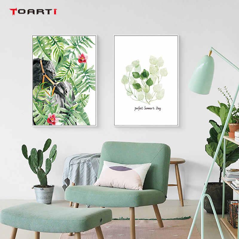 الشمال الطبيعي المشارك يطبع الفن الحيوانات الطيور الفيل النبات أوراق الاستوائية قماش اللوحة A4 جدار صورة ديكور المنزل الحديث