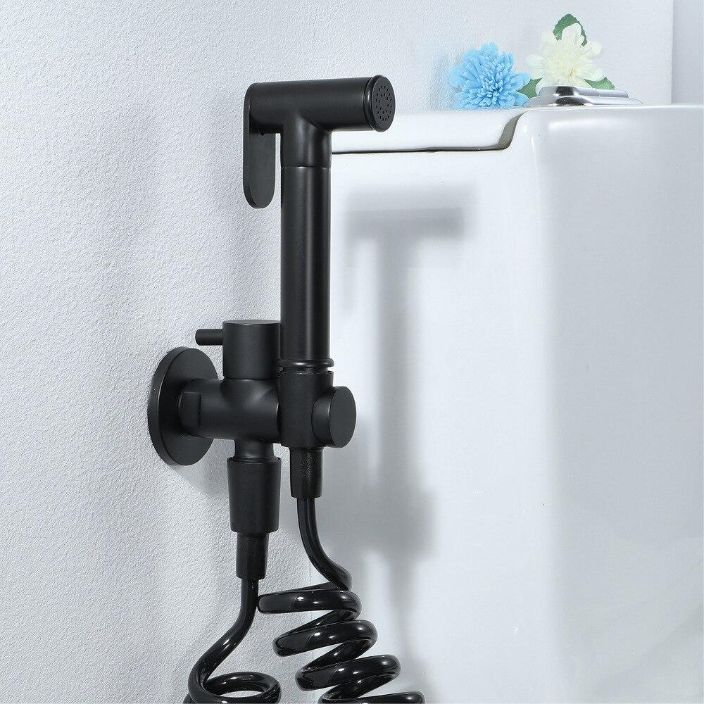 Robinets de Bidet noir robinet de pulvérisation de toilette pulvérisateur de douche WC 1.5m téléphone télescopique tuyau mural en laiton salle de bains Bidet robinets
