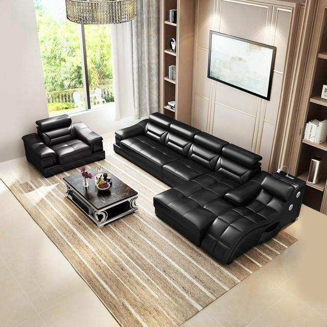 Living room Sofa set диван мебель кровать muebles de sala L shape massage  leather sofa cama puff asiento sala futon 3
