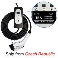 Портативный зарядный кабель SAE J1772 Type 1 IEC62196 type 2 EVSE EV, 16 А, европейская вилка для электромобиля