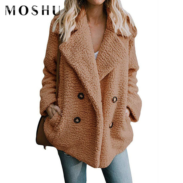 Teddy Coat Woman Fake Fur Jackets Winter Thick Warm Female Pockets Plus Size Overcoat