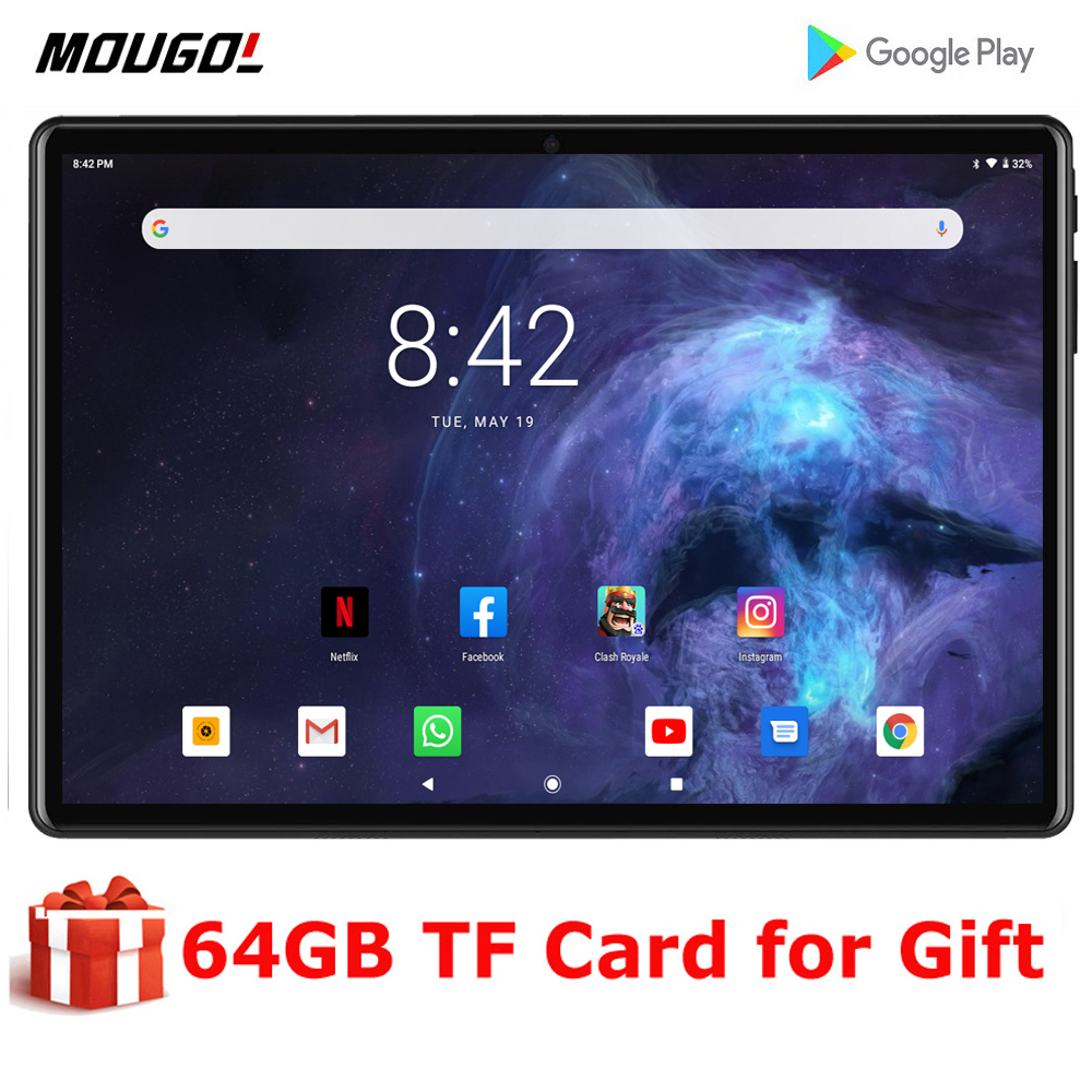 New System 10 Inch Tablet PC 3G Phone Call Android 9.0 Tablet WiFi Bluetooth 2GB 32GB Dual SIM Support Phablet 10.1 + Keyboard