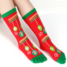 Women socks green balloon pattern and odor-proof Christmas five-fingered toe funny for girls gifts