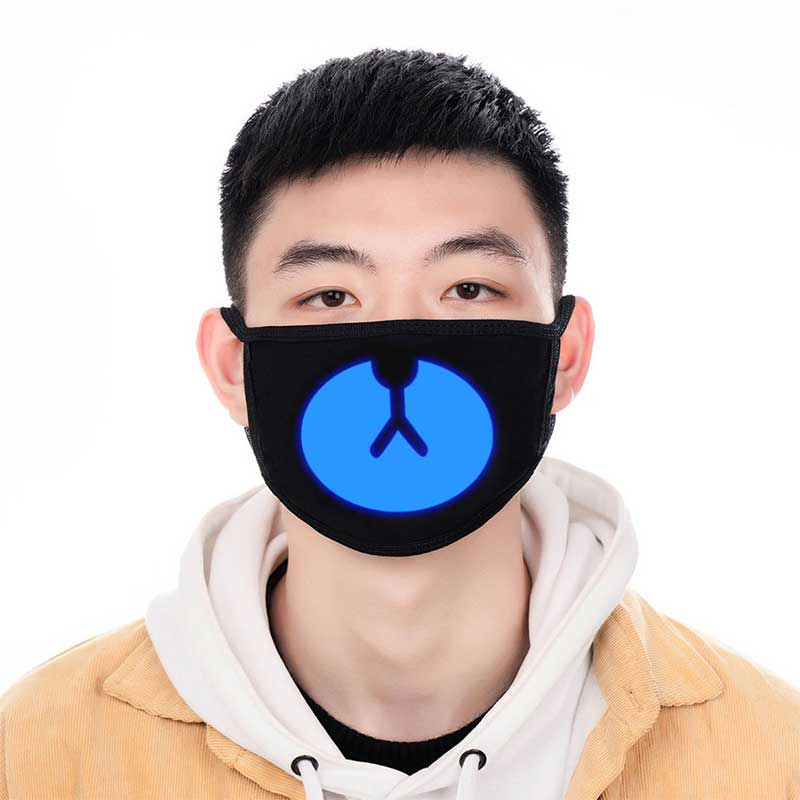 Lucky Bear Woman Men Black Mask Mouth Cotton Dustproof Anime Cartoon Kpop Glow In Dark Skull Mouth Masks Unisex Party Masks Hot