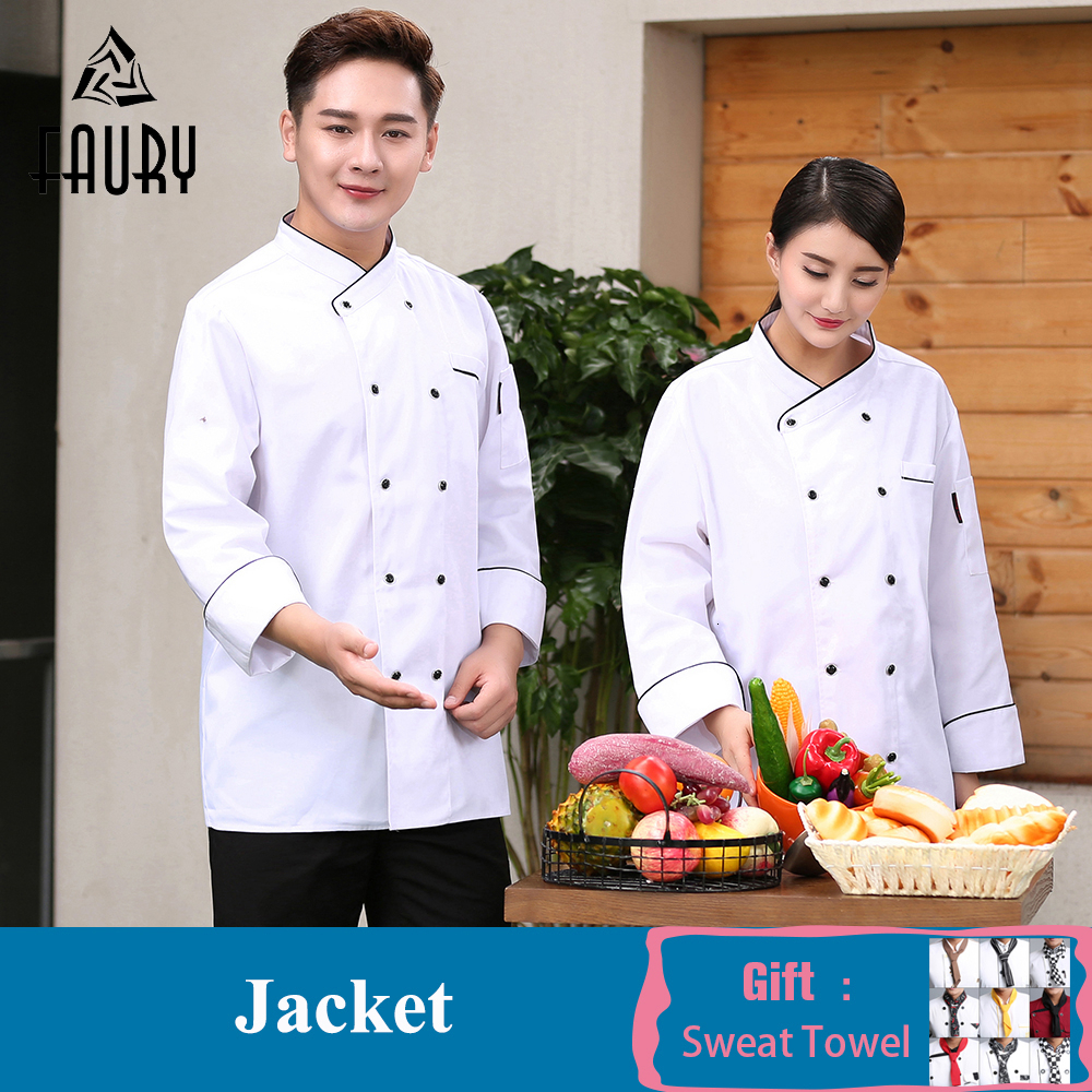 Unisex Chef Jacket Kitchen Food Service Long Sleeve Double Breasted Chef Uniform Barbershop Cafe Sushi Bakery Waiter Workwear
