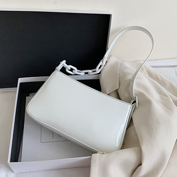 Patent Leather Small Armpit Bag For Women 2020 Luxury Simple Chain Design Shoulder Handbags Female Travel Hand Bag