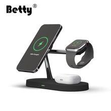 Betty carregador sem fio rápido 5 em 1 telefone inteligente magsafe magnético apple titular para o telefone relógio airpods indução carregadores sem fio