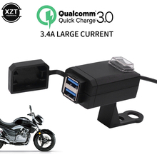 QC3.0 USB Charger Waterproof Dual USB Motorcycle Quick Universal Charger 12V Power Supply Adapter for Huawei Iphone Samsung