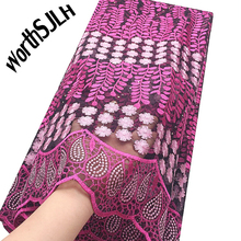Fushia Pink Latest African Fabric Lace Material 5 Yards French Nigeria Swiss Beaded Net 2019 For Dress