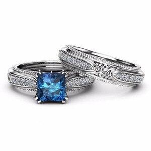 Image 2 - Rbnyd 2 senhoras de luxo romântico cristal anéis, quadrado elegante rosa ouro zircon casamento anéis de noivado, presentes de natal yr010