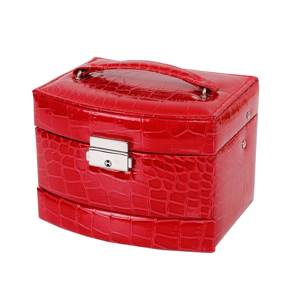 3 Layers Crocodile Pattern Jewelry Display Storage Box Earring Rings Necklace Display Carrying Case Automatic Buckle Jewelry Box