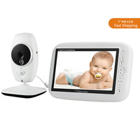 7 Inch HD Screen Wireless Baby Video Monitor 720P Camera Night Vision Intercom Lullaby Nanny Baby Monitor Supports Screen Switch