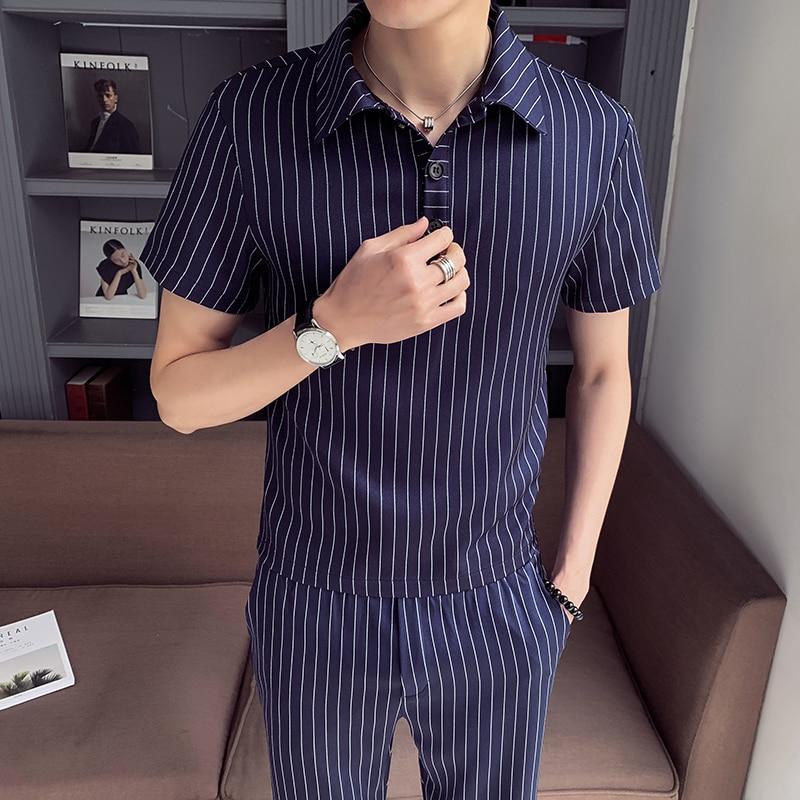 Tracksuit Men New Summer Stripe Cotton Short Set Men Brand Tshirt Men Breathable Casual Beach 2019 T-shirt Suit Fashion Suit Men