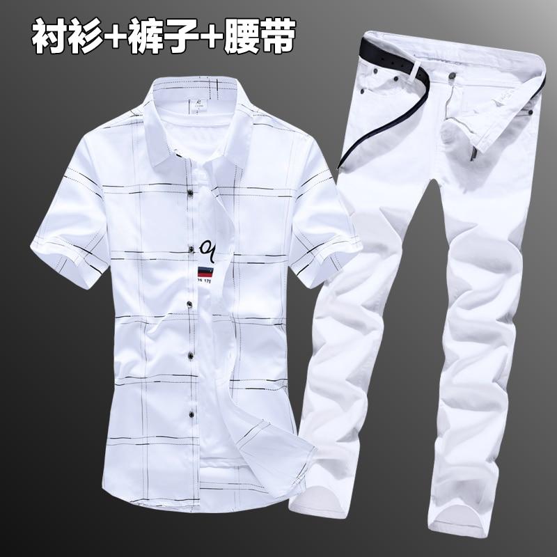New Summer Short Sleeve Shirt Long Trousers 2pcs Set Checks Plaid Mens Shirts Pencil Pants Casual Male Clothing Korean Style N5