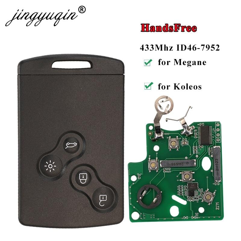 Jingyuqin HandsFree Keyless смарт-карта для Renault Megane III Fluence Laguna III Scenic Clio Captur Koleos 433MHz FSK PCF7952 Key Remote