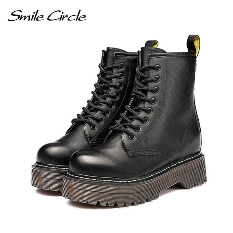 Gülümseme Daire Size36-41 Tıknaz Motosiklet Botları Kadın Sonbahar 2018 Moda Yuvarlak Ayak Lace-up Savaş Botları Bayan Ayakkabıları