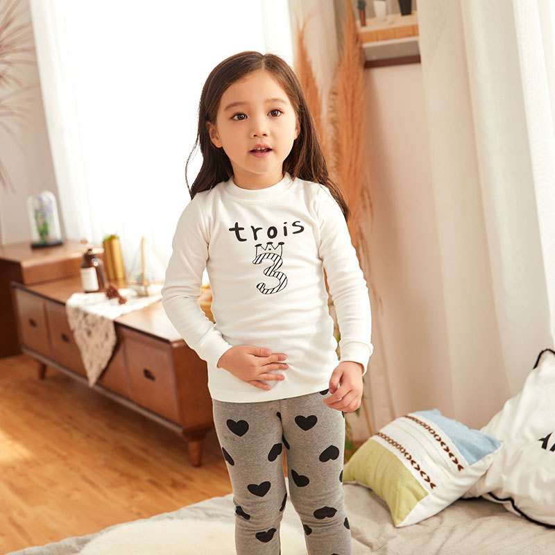 New Style Korean-style Children Tracksuit Baby Pure Cotton Pajamas Suit Cartoon Printed Thermal Underwear