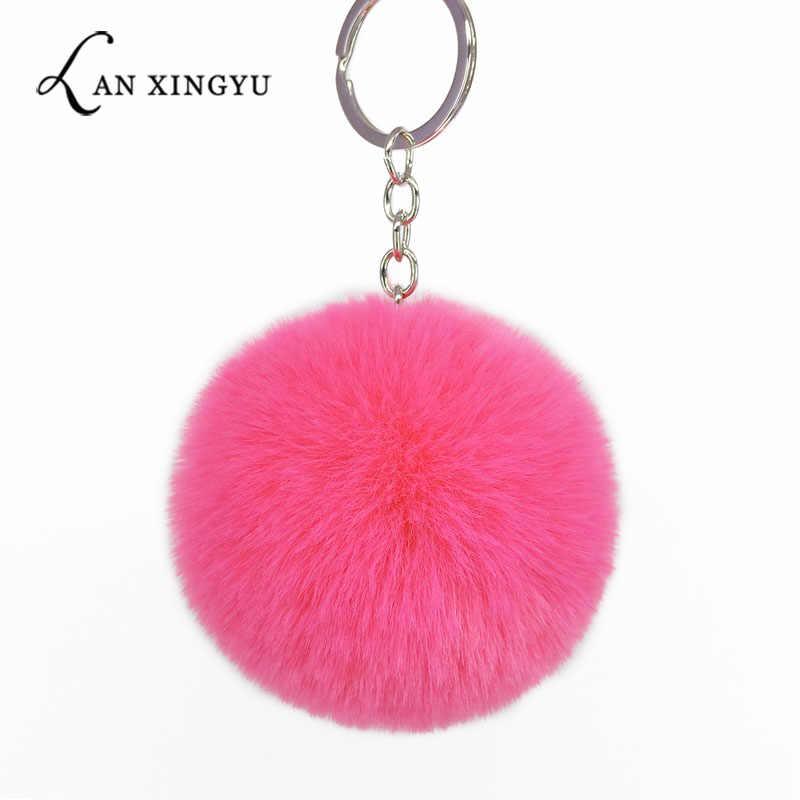 Colorful Fluffy Bola Chaveiro Pompom Bola Chaveiro Pingente para o Saco Decorações Ornamento Jóias Acessórios Chave Do Carro Presentes Dos Miúdos