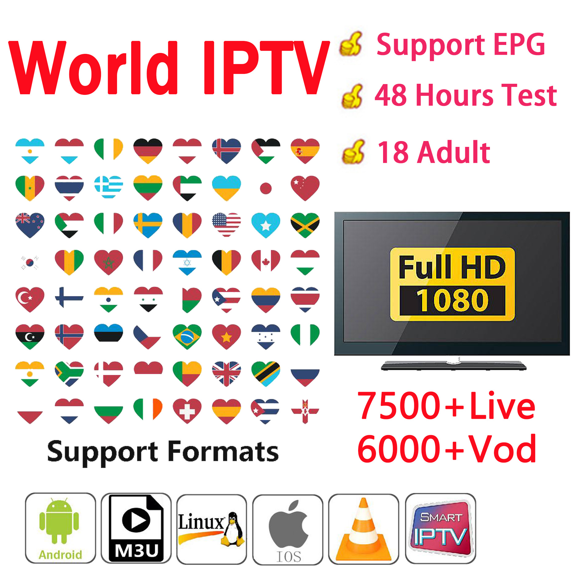 IPTV Pro Italy Arabic French UK Europe IPTV Italy Code IPTV Subscription 7500+channel And 500+Adult Android USB Wifi TV Box PC