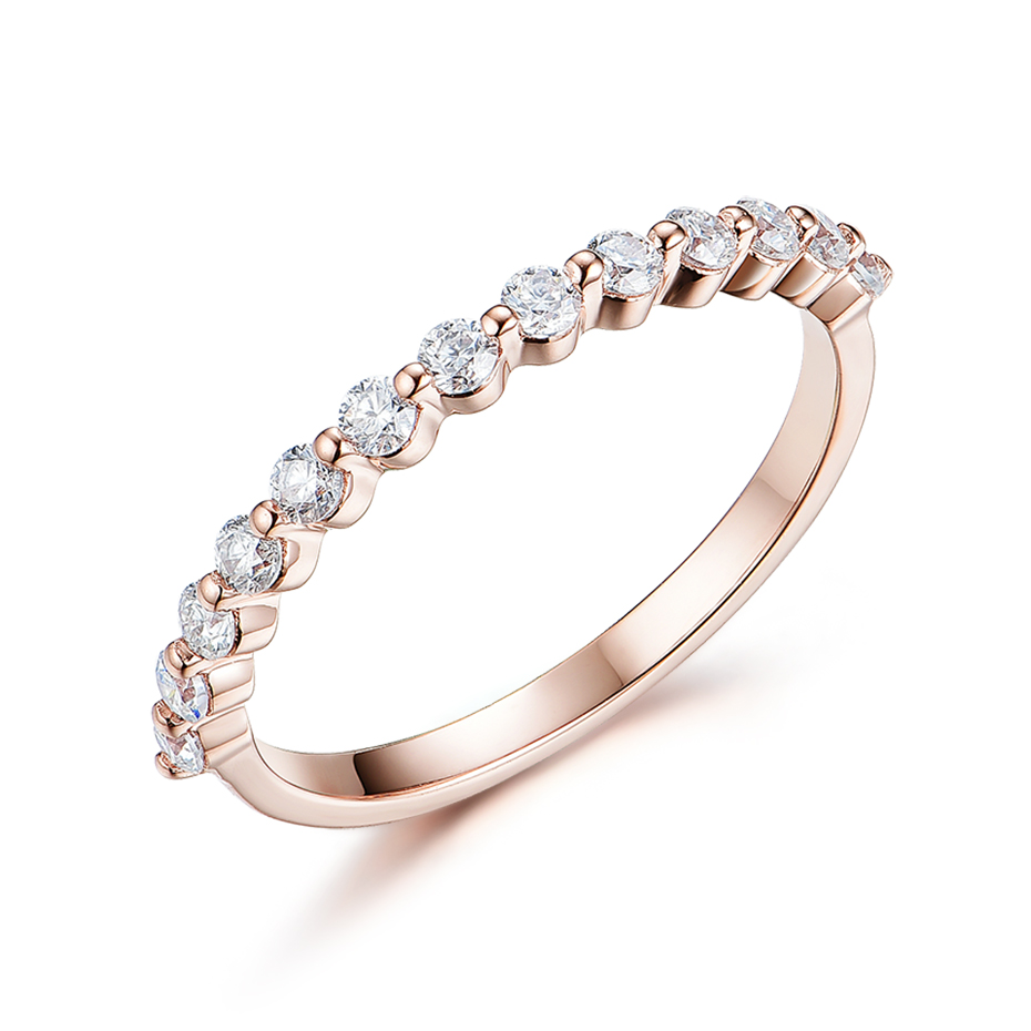 Kuololit 585 14K 10K Rose Gold Bubble Ring for Women Moissanite Solitaire Ring Matching Half Eternity Wedding Band Engagement