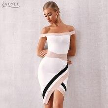 ADYCE 2020 新しい夏の女性オフショルダーボディコン包帯ドレスセクシーな半袖ミディクラブ有名人のイブニング滑走路パーティードレス