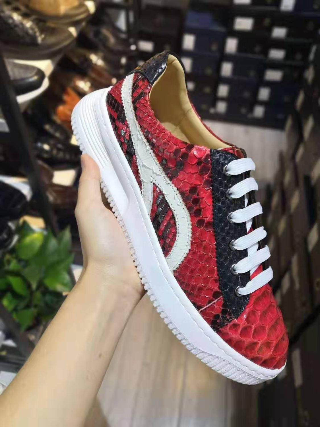 2019 new production 100% real genuine python skin snake leather fashion sneaker shoe with genuine cowhide skin lining