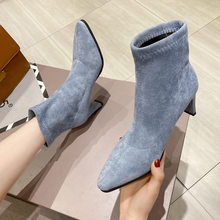 High heels women booties designer chelsea brand velvet martin zipper boots winter fashion ankle botines ladies fur shoes(China)