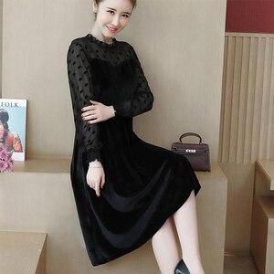 Image 3 - COCOEPPS Big Size Lace Dress Plus Size Autumn Polka dot Mesh Casual vestidos Winter Female Clothes Elegant Party Vestios women