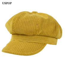 USPOP 2019 winter hats women corduroy caps thickened jacquard octagonal solid color vintage visor