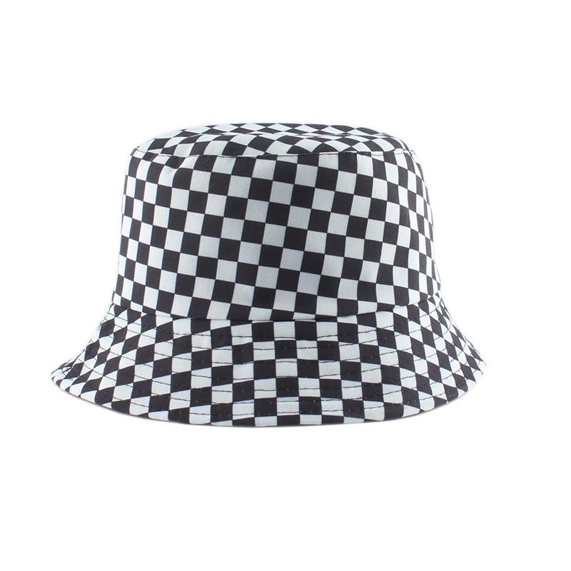 Sombrero de pescador Reversible para hombre y mujer, gorra de pescador a cuadros en blanco y negro, 2020
