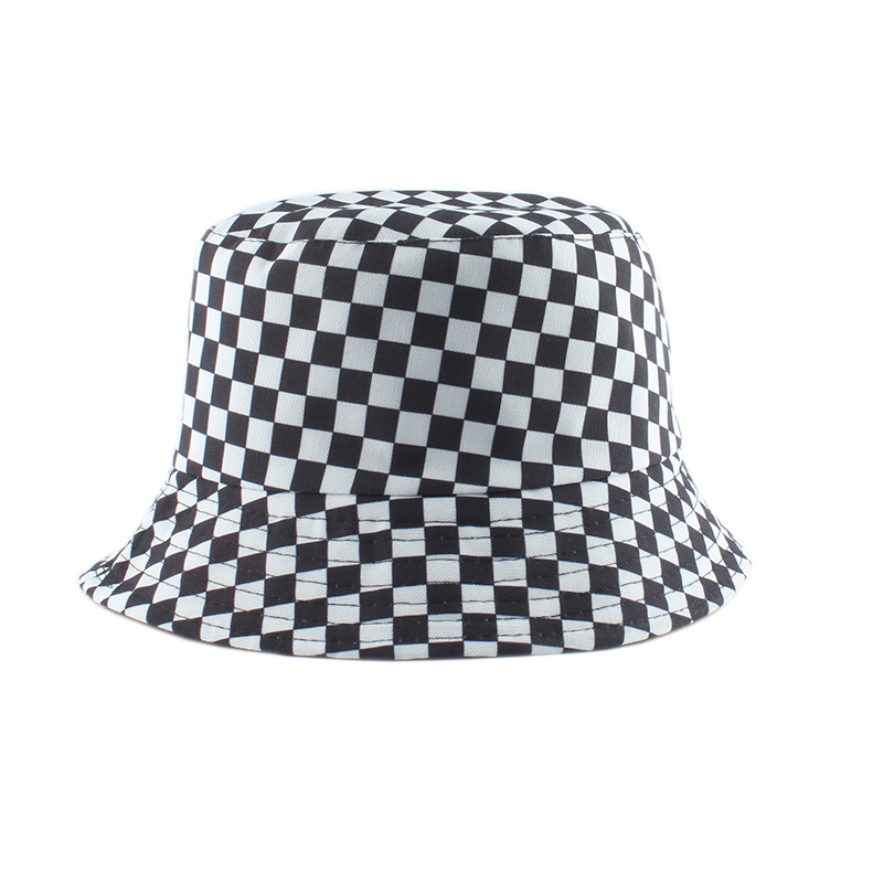 2020 New Brand Black White Plaid Check Bucket Hats Fishing Caps Women Mens Reversible Fisherman Hat