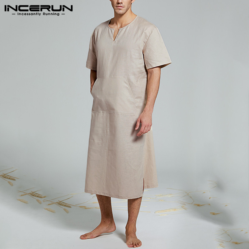 INCERUN Cotton Men Robes Solid Pajamas V Neck Pockets Cozy Short Sleeve Vintage Nightgown Homewear Kaftan Mens Bathrobes S-5XL