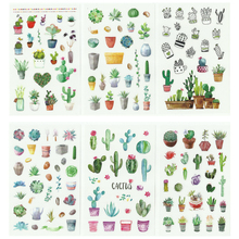 Creative Cute Plant Stickers Set Kawaii PVC Hand Account Diary DIY Decoration Sticker School Statioanry Supplies 06550 cheap noverty 3 years old Plastic 9*14cm 6 PCS lot