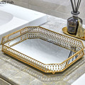Vintage European Mirror Glass Metal Storage Tray Gold Rectangle/round Fruit Plate Desktop Small Items Jewelry Display Tray Plate