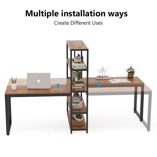 Two Person Computer Desk with Bookshelf 4
