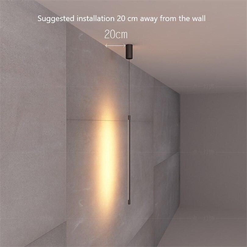 Nordic Moderne Slaapkamer Bed LED Hanglampen Minimalistische Woonkamer Hanglamp Lijn Licht Creatieve Sfeer Opknoping Lamp - 3