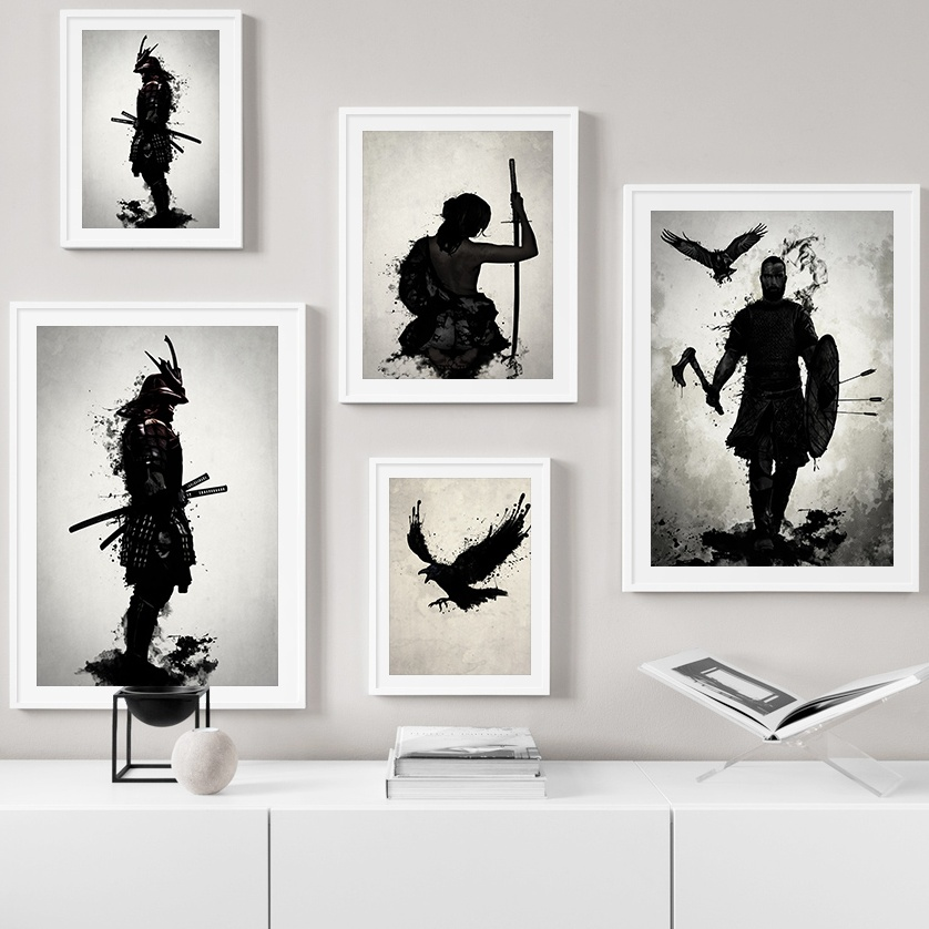 Armored Japanese Samurai Warrior Vintage Wall Art Canvas Painting Nordic Posters And Prints Wall Pictures For Living Room Decor(China)