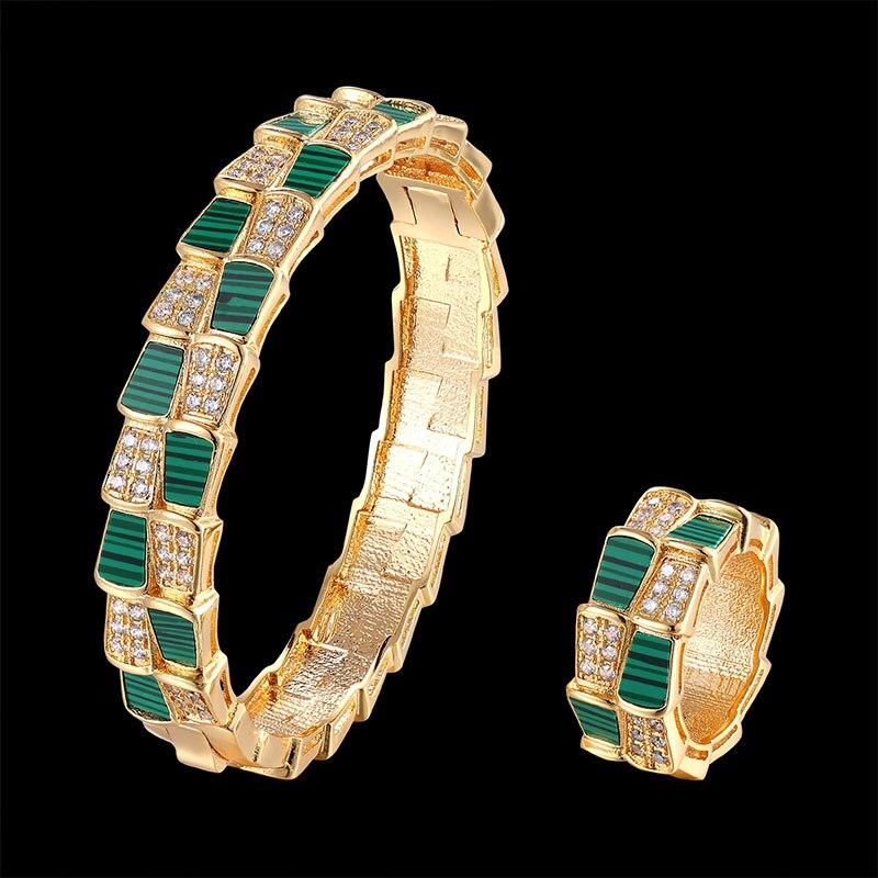 Fateama marque luxueux coquille bracelet et bague ensemble de bijoux avec double couche similaire serpent corps accessoires de mode meilleur cadeau