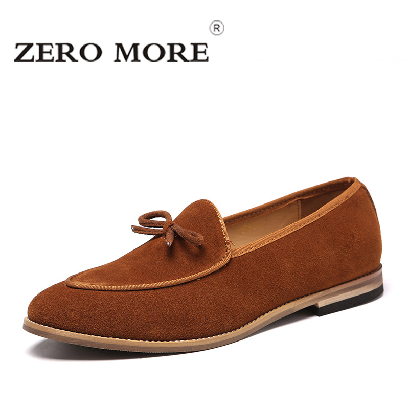ZERO MORE Slip On Men Shoes Black 2019 Cow Suede Moccasins Tie Mens Shoes Casual Loafers Fashion Tassel Design Men Loafers