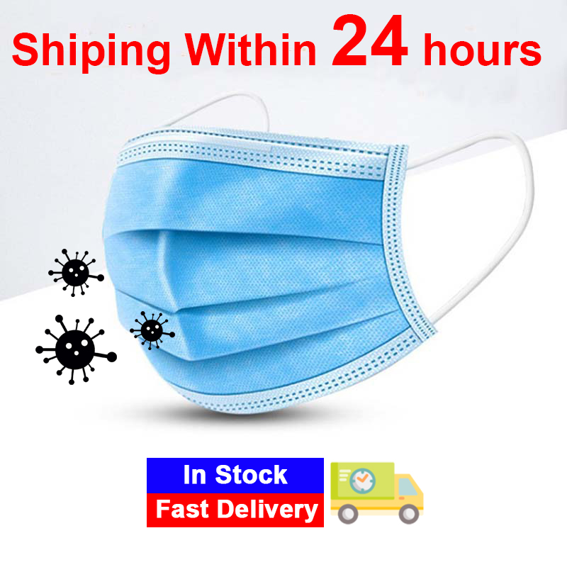 In Stock!Disposable Masks 10/100 Pcs Mouth Mask 3-Ply Anti-Dust  Nonwoven Elastic Earloop Salon Mouth Face Masks