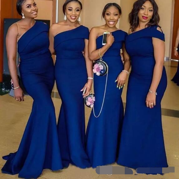 chiffon Blue One Shoulder Bridesmaid Dresses Sweep Train Simple African Garden Country Wedding Guest Maid Of Honor Dress Plus