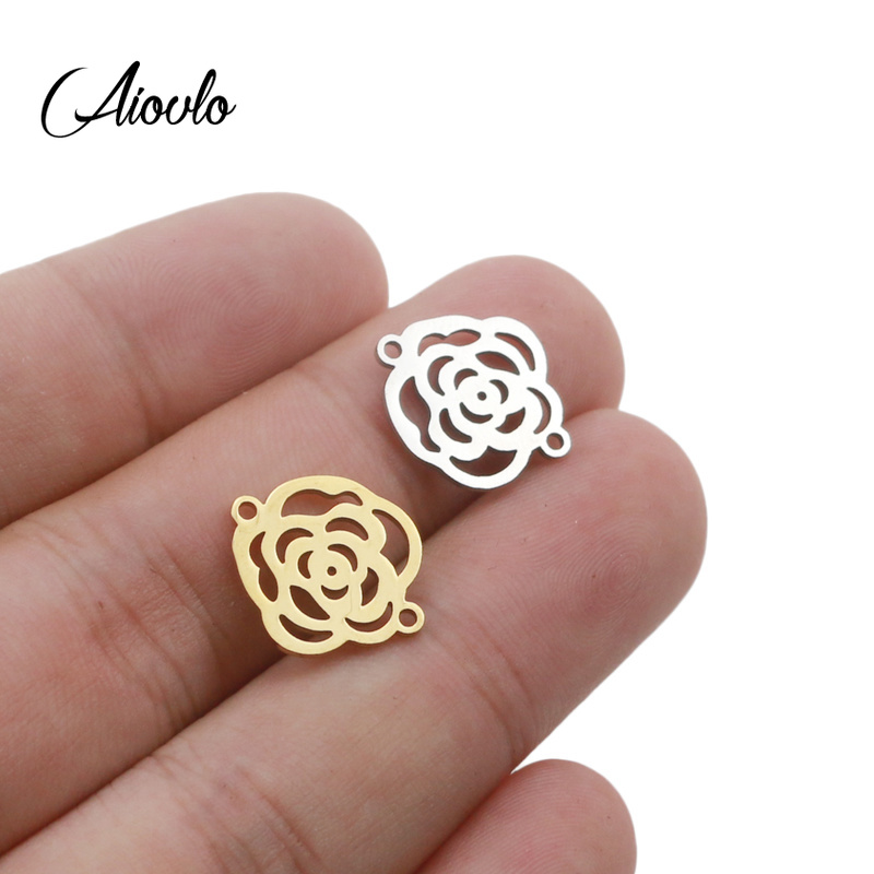 5pcs/lot Wholesale Stainless Steel Gold Silver Color Hollow Rose Flower Charms Pendant For Jewelry DIY Making Accessories