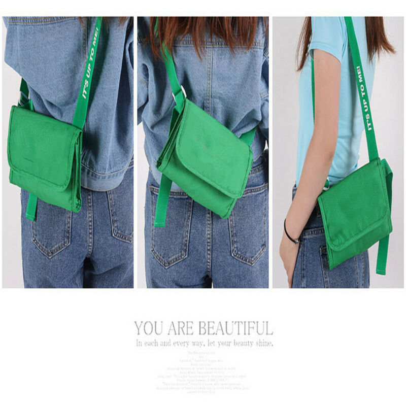 Women's Pure Color Casual Shoulder Tote Bag Canvas Messenger Bags Waterproof Handbag